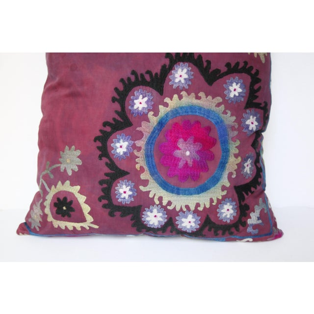 1980s Vintage Suzani Sofa Throw Pillow Cover For Sale - Image 5 of 11