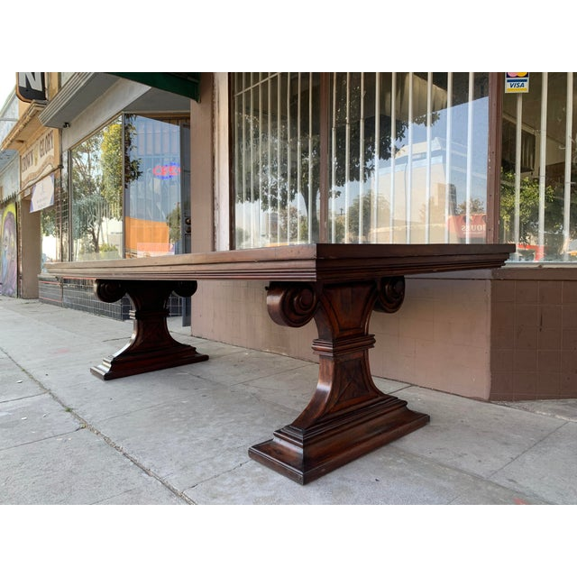 1980s Traditional Solid Wood Mahogany Dining Table For Sale - Image 4 of 12