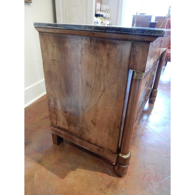 Early 19th C Walnut French Empire Commode For Sale - Image 4 of 12