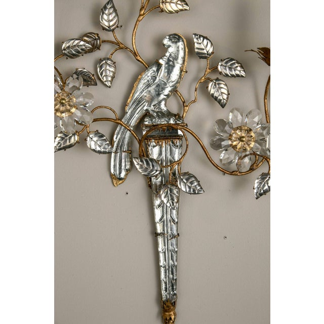 Mid 20th Century French Three-Light Bronze Sconces - a Pair For Sale - Image 5 of 8