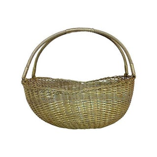 Woven Brass Basket For Sale