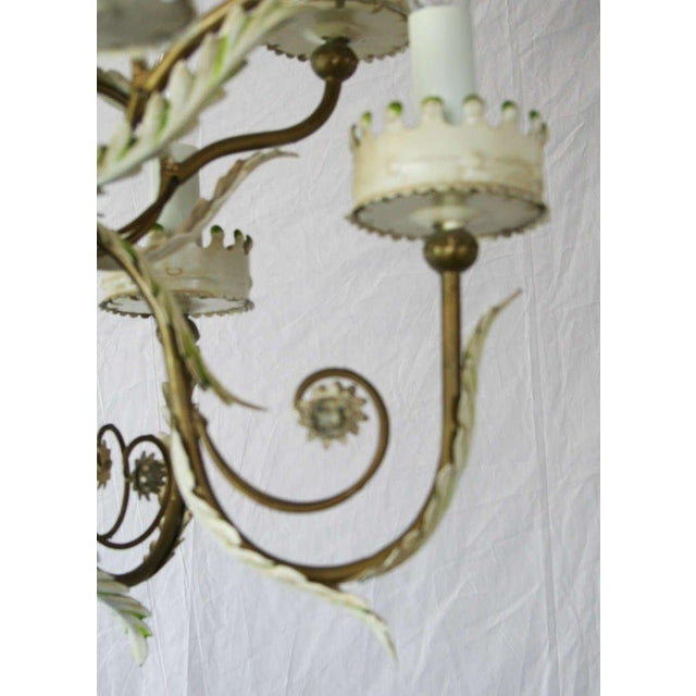 Large Italian Tole Chandelier For Sale In Palm Springs - Image 6 of 6