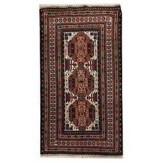 Intricate Multicolored Tribal Hand Knotted Rug- 3′10″ × 6′10″ For Sale