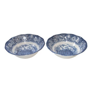 Liberty Blue Staffordshire TransferWare Serving Bowls - A Pair For Sale
