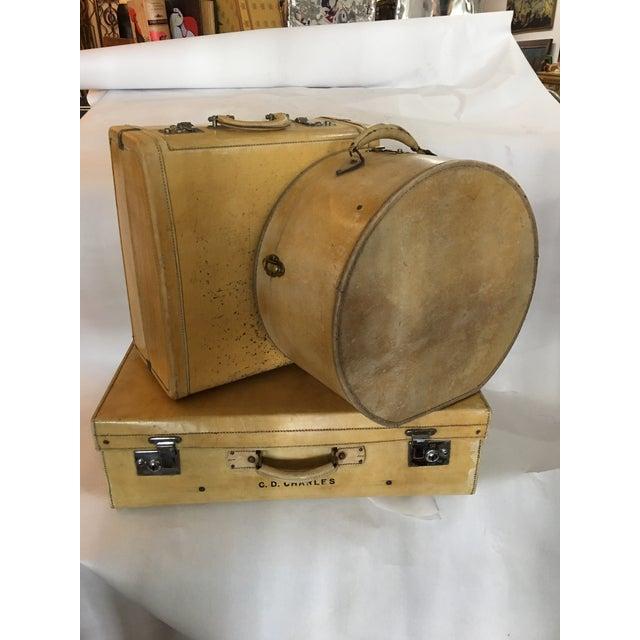 Vintage English Vellum Suitcases & Hat Box - Set of 3 - Image 2 of 11