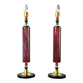Murano Glass Etched Aubergine and Multi-Color Table Lamps - Pair For Sale