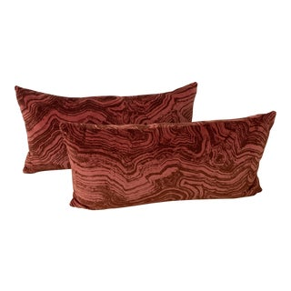 Cowtan & Tout Velvet Malachite Fabric Pillows - a Pair For Sale