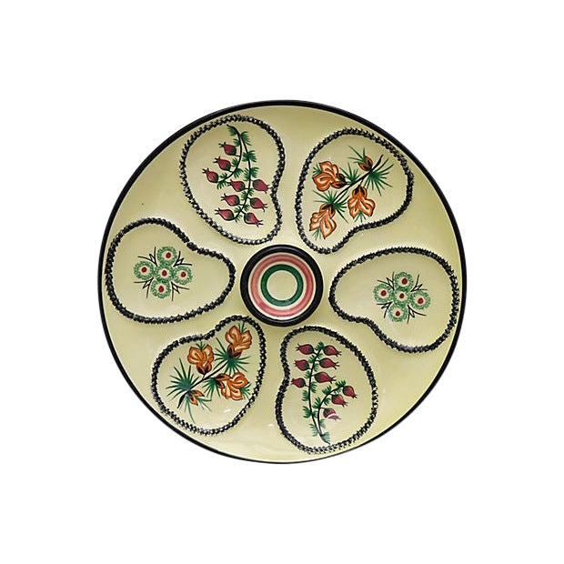 Mid-Century French Quimper Oyster Plate For Sale
