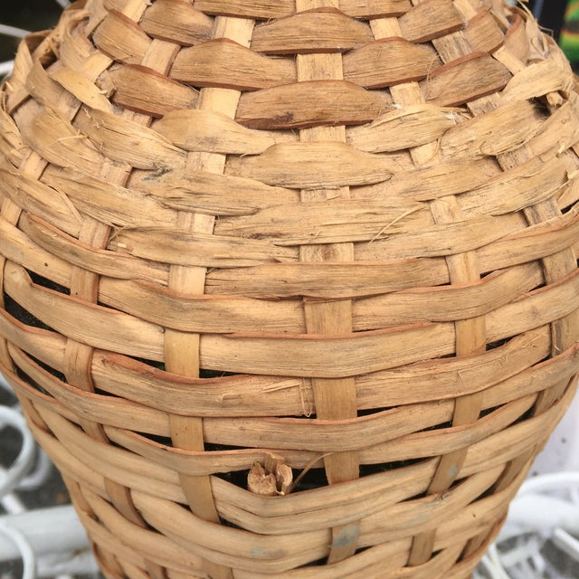 Brown Vintage Rattan Wicker Wrapped Green Glass Jug For Sale - Image 8 of 11
