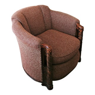 Herringbone Club Barrel Chair With Hand Carved Wood Arms