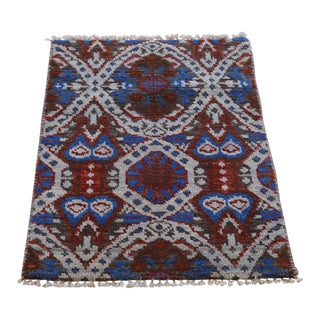 Ikat Hand Knotted Wool Rug - 2' x 3'