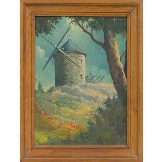 Provence Landscape Daudet Windmill Gouache Painting by Andre Leger For Sale