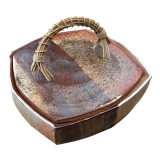 Mid-Century Fired Glaze Ceramic Shino Box For Sale