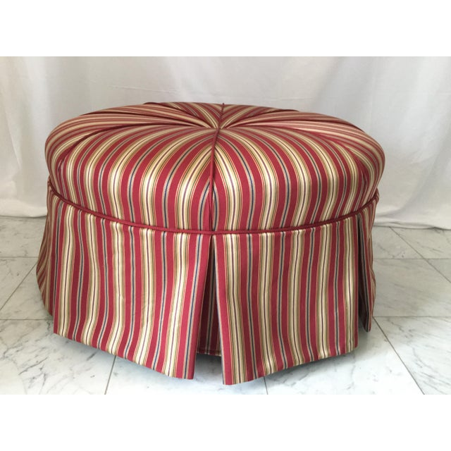 Traditional Round Stripe Upholstered Pleated Skirt Ottoman For Sale In Detroit - Image 6 of 7