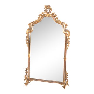 Italian Florentine Hand Carved Gilt Wood & Antique Mirrored Glass Wall Mirror For Sale