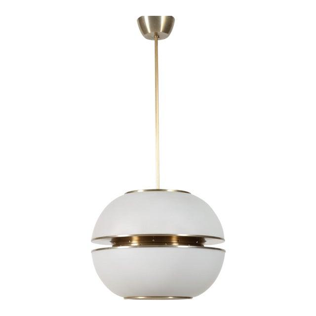 1960s Italian Oscar Torlasco Round Glass Pendant Lantern For Sale