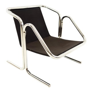 Vintage Mid Century Jerry Johnson Chrome Arcadia Sling Lounge Chair For Sale