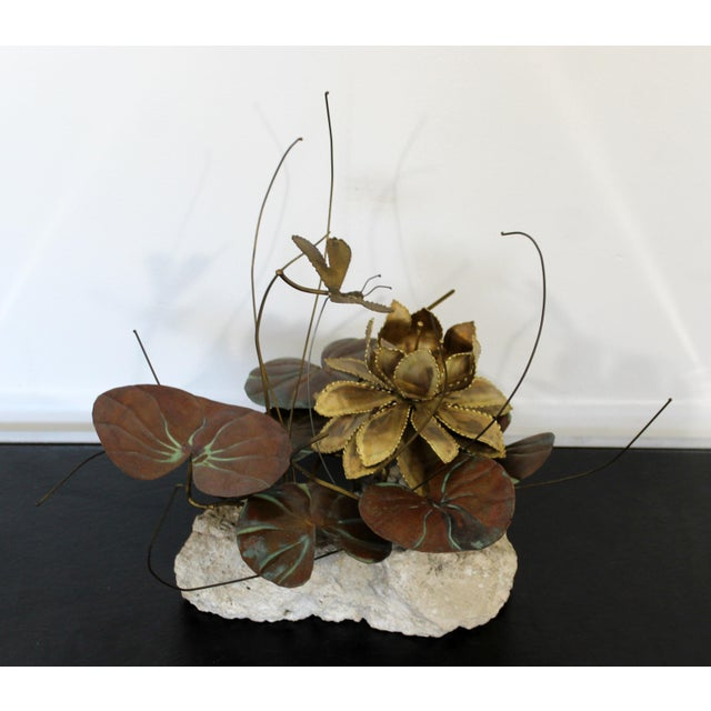 Metal Mid Century Modern Brutalist Brass on Stone Table Sculpture Water Lily Jere Era For Sale - Image 7 of 8
