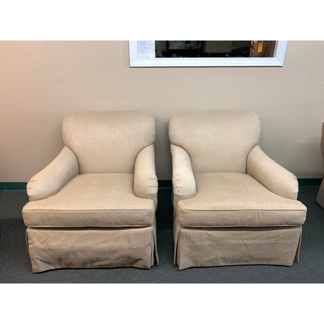 Baker Furniture English Rolled Arm Chairs- a Pair For Sale - Image 10 of 10