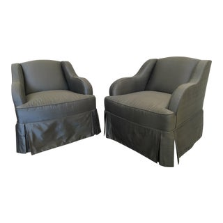 Blue Silk Club Chairs by Hickory Chair - A Pair