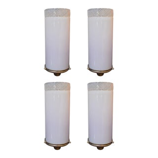 Set of Four Italian Sconces W/ Pink Murano Glass, Designed by Venini C 1930s For Sale