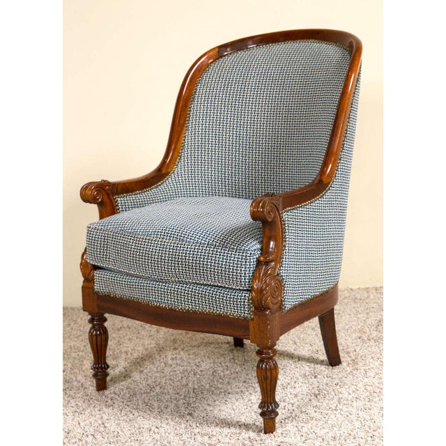 Blue Pair Mahogany Empire Style Armchairs For Sale - Image 8 of 9