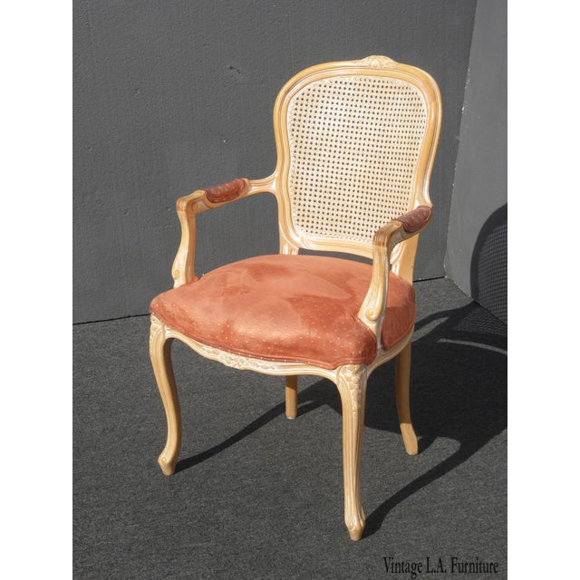Vintage French Provincial Cane Back Off White Accent Chair W Peach Fabric For Sale - Image 11 of 11