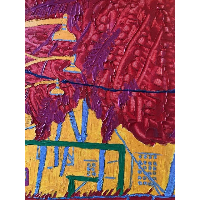 """Dan Bissell Sep 83"" Colorful Street Scene Oil on Canvas, Signed For Sale In Seattle - Image 6 of 11"