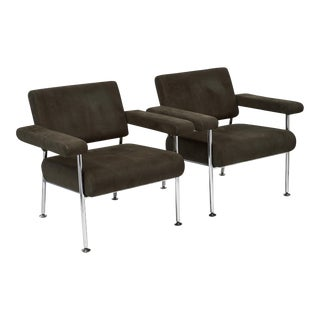 Vintage Modernist Chrome and Ultra-suede Armchairs