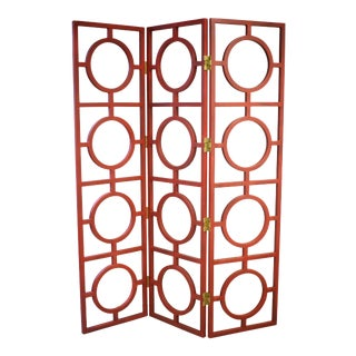 Red Three Panel Wood Screen With Squares and Circles For Sale