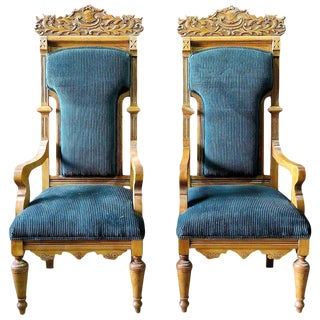 Pair of Palatial Ceruled Oak Throne Chairs For Sale