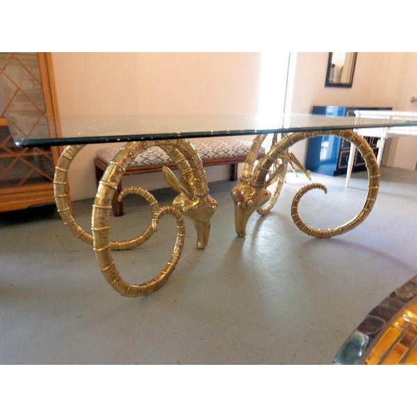 Hollywood Regency Chervet Style Brass Rams Head Ibex Dining Table - Image 2 of 6