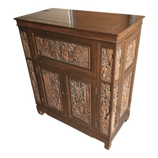 Vintage Mid-Century Chinese Hand Carved Liquor Cabinet