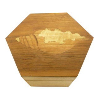 Vintage Hexagon Sea Shell Marquetry Inlay Wood Keepsake Box - Italy