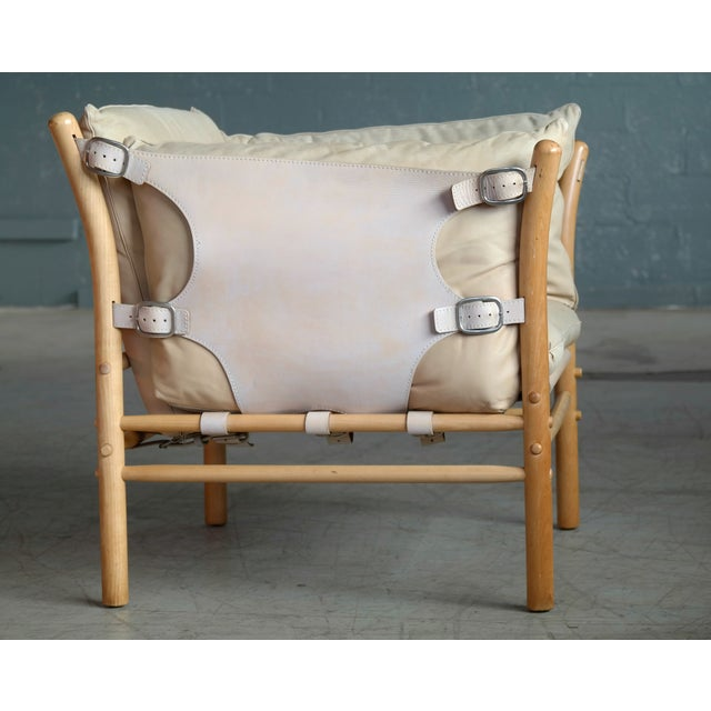 Animal Skin Arne Norell Safari 1960s Chair Model Ilona in Cream and Tan Leather For Sale - Image 7 of 13