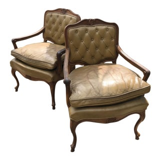 1960s Vintage Leather Tufted Mid Century Arm Chairs- A Pair For Sale