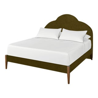 The Crown Bed - King - Kate - Luxe Velvet, Olive For Sale