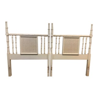 Vintage White Faux Bamboo Twin Headboards - a Pair For Sale