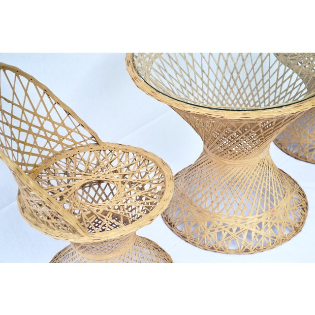 Mid-Century Modern Rattan Child's Table & Chairs For Sale - Image 4 of 4