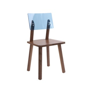 AC/BC Chair (Acrylic Back), Solid Walnut with Blue Acrylic Back For Sale