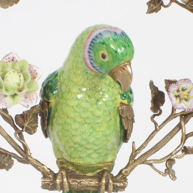 French Opposing Wall-Mounted Porcelain Parrots - a Pair For Sale In West Palm - Image 6 of 10