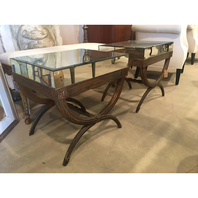Continental Directoire Curule Mirrored Side Tables - a Pair For Sale - Image 9 of 9