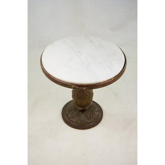 Italian Italian 20th C. White Round Marble Top Accent Table For Sale - Image 3 of 10
