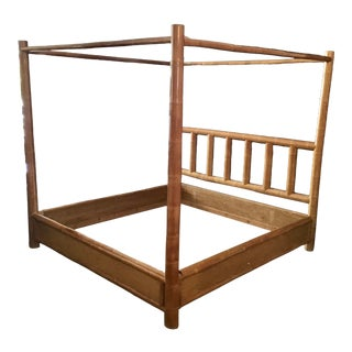 Vintage Boho Chic King Size Bamboo Canopy Bedframe For Sale