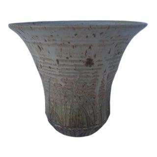 Vintage Studio Ceramic Bowl With Etched Grass Design For Sale