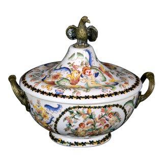 Mid 20th Century Napoleon III Style Bronze Eagle Ceramic Vase For Sale
