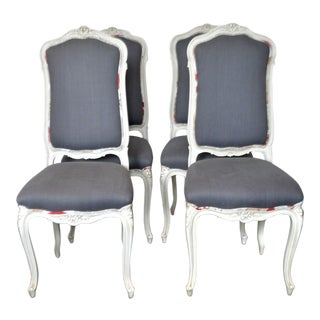 Louis XV Style Painted Dining Chairs Upholstered in a Charcoal Grey Linen - Set of 4 For Sale