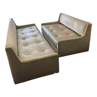 Vintage Mid Century Modern Edward Wormley by Dunbar Usa Sofas Newly Upholstered - Set of 2 For Sale