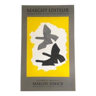 Georges Braque Rare Vintage 1973 Lithograph Print Maeght Editeur Exhibition Poster For Sale