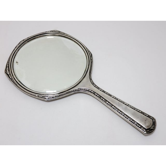 A Very Beautiful Victorian sterling silver Hand Mirror - Vanity mirror with beveled glass. Circa 1910. Fancy Hand Engraved...